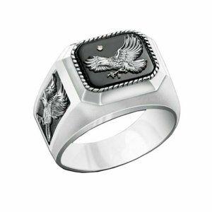 Mens Fashion Statement Ring Size 7 Eagle Patriotic